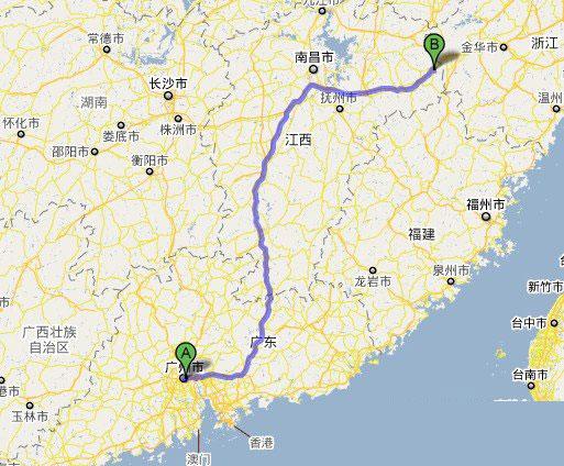 广州到三清山自驾游线路图