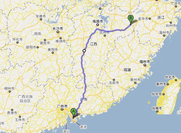 深圳到三清山自驾游线路图